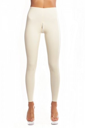 White latex leggings with double slider crotch zipper