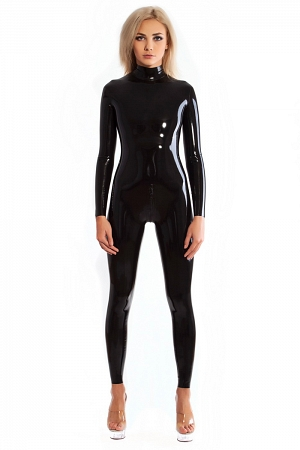 Neck entry latex catsuit with double slider crotch zipper