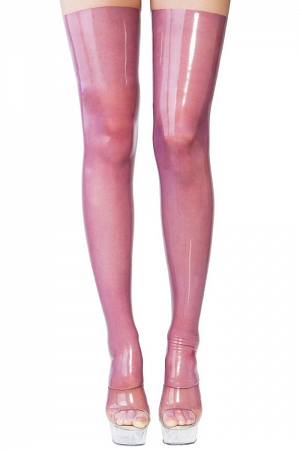 Stockings made of translucent latex with back seam