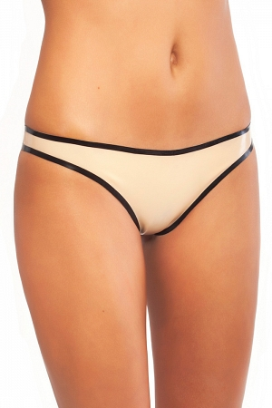 Latex thong panties with contrasting trim