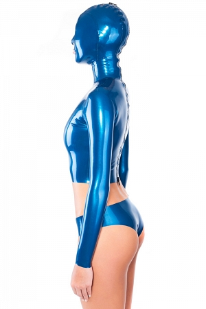 Sexy latex top with attached hood