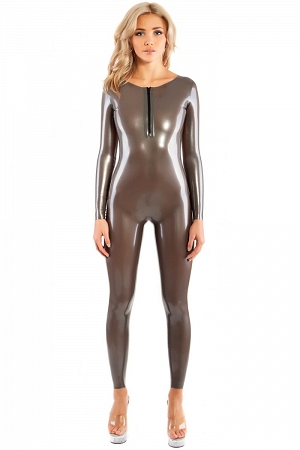 Latex catsuit with open back and front zipper