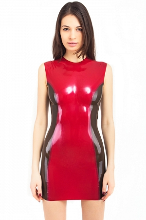 Latex dress with sheer sides
