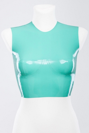 Latex tight-fitting top with cups