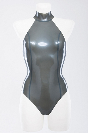 Latex swimsuit with high neck