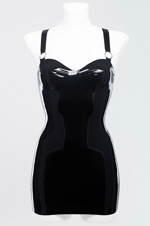 Latex dress decorated with metal rings