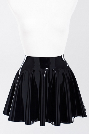 Latex fit-and-flare skirt