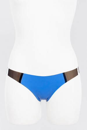 Latex thong panties with transparent sides