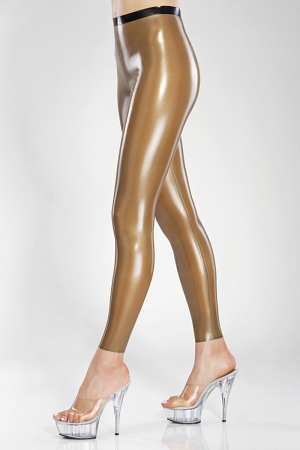 Latex leggings with contrast waistband