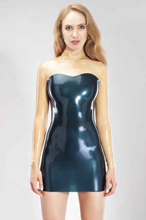 Latex Mini dress with translucent top and sleeves