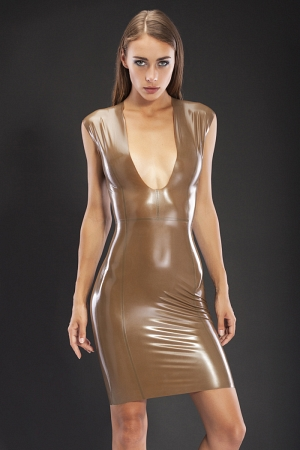 Sexy knee-length anatomical dress with decollete