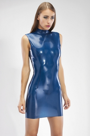 Latex mini dress with high collar and back zipper