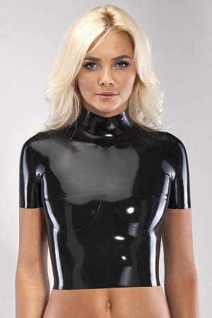Latex top with short sleeves and breast cups