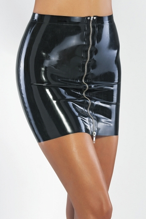 Latex mini skirt with metallic front zipper