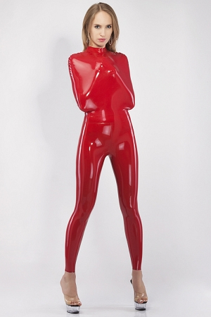 Bondage catsuit without sleeves and with a belt at the waist
