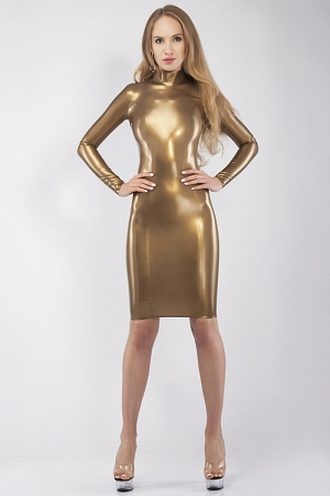 Sexy latex knee-length dress with sleeves and collar stand