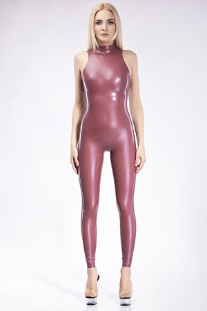 Sleeveless catsuit made of latex with anatomic cut