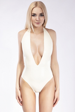 Latex one-piece swimsuit with sexy decollete