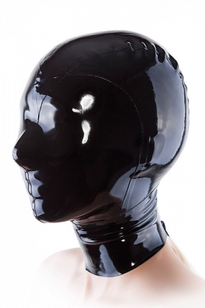 Black latex mask with only breathing holes for nostrils