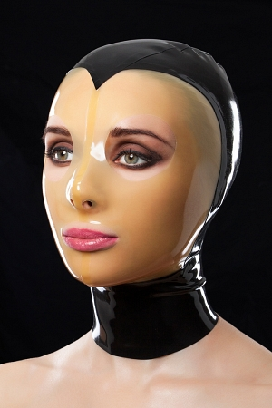 Latex mask with translucent face and holes for mouth and eyes