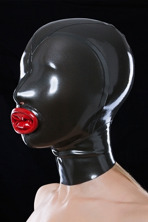 Latex mask with red condom and cut-outs for nostrils