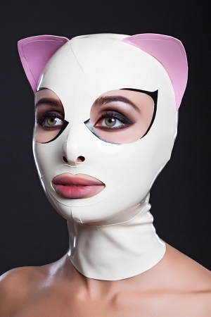 Latex cat mask with eyelashes and pink ears