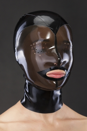 Latex mask with perforated eyes and translucent face