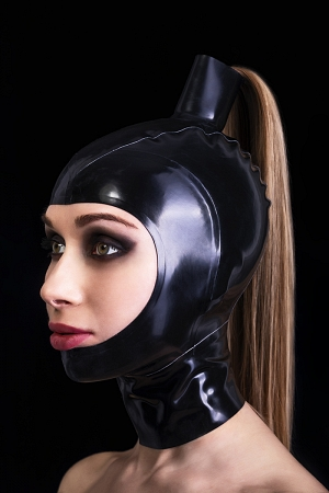 Latex open face mask with hair tube
