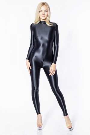 Shiny spandex catsuit with back and crotch zippers