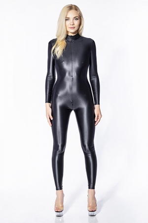 Very shiny wet look catsuit with front and crotch zippers