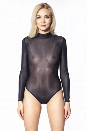 Transparent black netting swimsuit with long sleeves and high neck